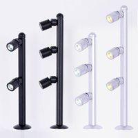 Spotlight LED Mini Poste Montado 110 / 220V Plata y negro 3 * 1W Lámparas de joyería, para joyería Showcase Shop Counter Light S10210