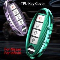 TPU ألياف الكربون غطاء مفتاح السيارة لنيسان Qashqai J10 J11 X-trail T31 T31 الركلات Tiida Pathfinder Murano Note Juke / Infiniti QX50 Q60L Q60 Q60 QX6 QX6