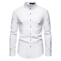 Men's Dress Shirts Business Pleated Shirt Fashion White Blue Green Black Lapel Banquet Wedding Male High Quality Brand Clothing