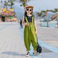 مجموعات الملابس الفتيات الأطفال في منتصف العمر مريلة البدلة الصيف 2021 الأزياء فضفاض المد الملابس الأدوات اثنين من قطعة 3-15Y