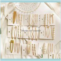 Hairpins Jewelryiparam 3 pçs / set womens pérola de pêlos moda coreano ouro total geometria garota headwear cabelo aeries jóias atacado gota