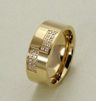 Titanium Steel Jewelry Cubic Zirconia Men Rings Fashion Finger Ring Gold 8mm Size 7-13 ZHL3547