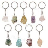 Irregular Crystal Stone Keychain Pendant Healing Natural Gemstone Keychains Key Chain Luggage Decoration Keyring