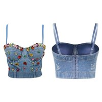 Womens Colorful Diamond Denim Bustier Bra Crop Top Luxurious Jewelry Jean Corset Camisole Spaghetti Strap Clubwear Women's Tanks & Camis