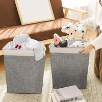 Sacos de lavandaria Algodão e cesta de linho Quadrado Roupa dobrável Balde de Armazenamento Portátil Brinqueamento Ferramenta de Acabamento Multifunções