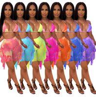 Frauen Bikini Mesh 2 Zwei Teil Set Designer Kleidung Crop Top Sexy Shorts Hosen Trainingsanzüge Outfits Casual Anzüge Slim Sleeveless 837