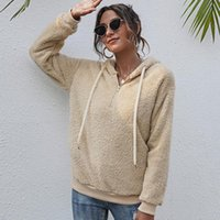 2021 fall winter pullover solid color hoodie drawstring top women plush