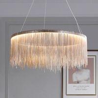 Nordic Chandelier Indoor Lighting Modern Tassel Round Chandeliers For Home Living Room Bedroom Lustre Minimalism Hanging Lamp Pendant Lamps