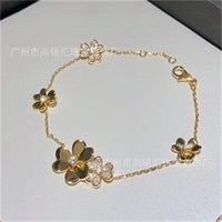 925 فضة ماركة مجوهرات للنساء الفضة chainbracelet براتي مجوهرات الزفاف الذهب اللون زهرة البرسيم سوار 22 U2