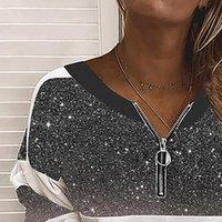 40 Camicie da donna Casuals Casual Paillettes Patchwork Print V Collo Zipper Manica lunga Moda Top Blusa Autunno Spring Pullover Elegante