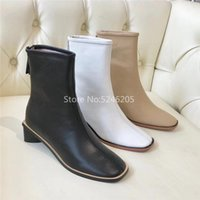 Botas zip mulheres negras tornozelo nu nu branco genuine leathe sapatos redondos dedo do pé magro mulher encaixe