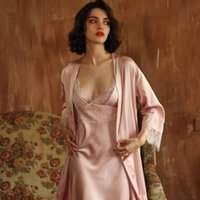 Women's Sleepwear Sexy Female Silk Summer Kimono Bathrobe Lace Bath Gown Wedding Night Dress Nightwear Home Clothes