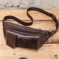 CONTACT'S Waist Belt Bag Men Genuine Leather Packs Brand Organizer Travel Chest Phone Pocket Casual Fanny Pack Male 210918