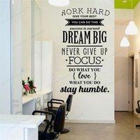 Pegatinas de la pared Trabaja Dream Hard Big Nunca renuncie a la cita Pegatina Oficina de la Oficina Decalación Inicio Arte removible Arte mural HJ494