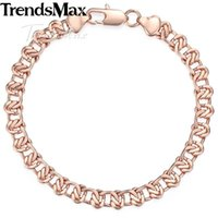 Trendsmax 585 Rose Gold Yellow White Filled Womens Bracelet Curb Cuban Snail Chain 8mm 18cm 20cm GB271A Link,