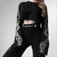 Gothic Dragon Print Long Sleeve Womens Blouses O Neck Tops Fashion Loose Jumper Pullovers Crop Autumn Clothes