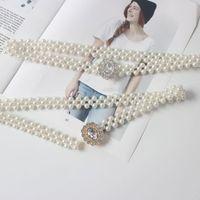 Belts Pearl Beads Elastic Chain Rhinestone Pendant Women Belt Waist Strap Punk Rock Style Goth Belly Dance Fashion Accessories