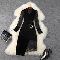 Elegante Dame Vestidos 2021 Mode Runway Designer Langarm Spitze Patchwork Sexy Party Black Samt Kleid Frauen Herbst Casual Kleider