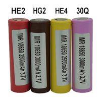 100 unids Batería de alta calidad HE2 HE4 HG2 30Q 18650 INR batería 2500mAh 3000mAh 3.7V 18650 Baterias Recargables Baterías de litio Cell