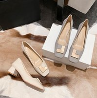 Designer Women chunky heel Dress shoes Beige Sequined Buckle Middle heel 5 cm Soft leather Shallow mouth Slip-On quare toe Lady Party Single shoes