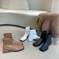 fashion-Women Ankle Boots Woman Low Square Heel Zipper Shoes Autumn Winter PU Leather Women's Booties