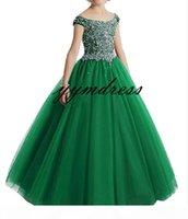 Girl's Pageant Dresses 2019 Ball Gowns Burgundy Child Glitz Flower Girls Dresses For Wedding Size 4 6 8 10