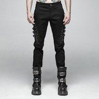 Moda Casual Hombre Remache Pantalones Hombres Streetwear Hip Hop Cotton Lápiz Punk Rock Personalidad Largo Rave Hombre
