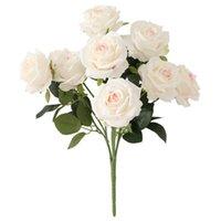 Dekorative Blumen Kränze 10 Dole Silk Rose Bouquet Künstliche Blume Hochzeit Braut Home DIY Dekor Hohe Qualität Big Accessoires Handwerk