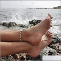 Anklets Jewelrybeach Ctures Seashell Conch Charm Connected With White Black String Rope Extended Sier Plated Metal Chain Woman Anklet Drop D