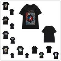 T-shirt das mulheres Verão Verão Paz Guindaste Palmeira Letra Logotipo Impressão em torno do pescoço de manga curta estilo de rua senhoras casuais rock crânio de alta qualidade 08070101
