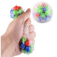 DHL Fidget Toys Rainbow Squeeze Ball Spiky Stress Vent With Colored Beads Autism Push Bubble Sensory Squishy Jouet Pour Autiste For Adult