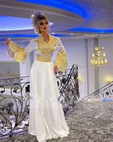 White Arabic Satin Evening Dresses Flared Sleeves Gold Lace Mermaid Prom Dress robe de soiré Traditional Kosovo vestidos