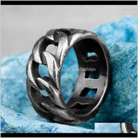 Cluster Jewelryretro Old Black Weave Cutout Stainless Steel Mens Rings Punk Hip Hop For Male Boyfriend Biker Jewelry Creativity Gift Wholesal