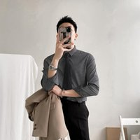 Men's Casual Shirts 2021 Men Spring Korean Slim Fit Business Formal Wear Male Striped Dress Long Sleeve Blouses O284