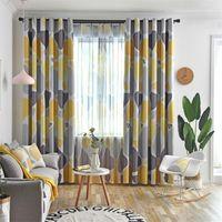 Cortina cortinas amarelo-cinzento paralelepípedos blackout cortinas para sala de estar moderna sombra azul cortina janela de círculo geométrico wp419-5