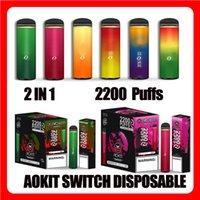 Authentic Aokit Switch E-sigarette e-sigarette monouso Dispositivo 2200 sbuffi 2 in 1 1100mAh Batteria 8.5ml Cartridge Pod premilled Doppia Penna vape VS Cube