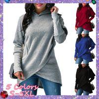 New Long Sleeve Fleece Sweatshirt Women Blouse Irregular Hoodies Sweatshirts