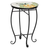 WACO Mosaic Glass Top Pot Stand Side Table, Metal Art, Black Iron Support Outdoor Indoor Accent Plant Holder - Pineapple Pattern