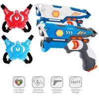 New infrared laser tag toy gun versus gunshot light indoor and outdoor game gift set Children gift Kids Multiplayer-2guns+2Combatvest