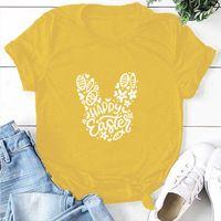 Black,Gray,Blue,Yellow Tshirt 2021 Women O-Neck Print T-shirt Easter Short Sleeve Casual Loose Tee Shirt Lady Summer Tops Women's