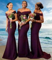 2022 Mermaid Bridesmaid Dress Long Dresses African Purple Off The Shoulder Satin Sweep Train Wedding Guest Maid Of Honor