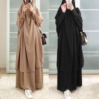 EID con cappuccio musulmano donne hijab vestito preghiera indumento jilbab abaya lungo khimar abito ramadan abito abayas gonna set islamici vestiti niqab