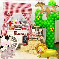 1Set Farm Animal Foil Balloons Cow Pig Cake Topper Wrapper Horse Pet Walking Banner Kids Gift Birthday Party Decoration Supplies