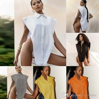 Designer sem mangas sexy camisa lateral split oco out colar de lapela tops feminino moda mulheres blusas recolher colar solto colete 8612