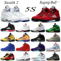 2021 Raging Bull Jumpman 5S أحذية كرة السلة 5 ما الشراع الشاطئ الشبح الخفيفة أكوا ميشيغان برو نجوم النفط رمادي رجل إمرأة الرياضة أحذية رياضية المدربين