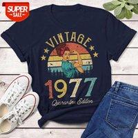 2021 verão vintage 1977 edição de quarentena t-shirt africano mulheres 43years velho 43rd aniversário presente idéia menina mamãe esposa filha engraçado ret # nn79