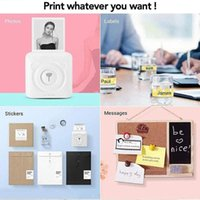 Mini Portable Po Printer,Thermal Wireless Bluetooth Label Maker With 6 Printing Paper, 58mm Instant Print Black-White Printers