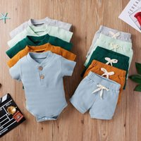 Clothing Sets Two Piece Born Baby Girls Boys Solid Ribbed Outfits Short Sleeve O Neck Romper Shorts Infant Toddler Summer 0-18M