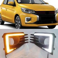 1Set Car DRL Lamp LED Daytime Running Light For Mitsubishi Mirage 2020 2021 Dynamic Yellow Turn Signal Function 12V