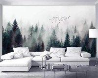Custom 3D Self Adhesive Wallpaper Modern Fresh Fog Forest Clouds Flying Bird Nordic TV Backdrop Living Room Bedroom Waterproof Wallpapers